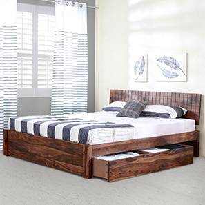 Valencia Storage Bed (Teak Finish, King Bed Size) By Urban Ladder