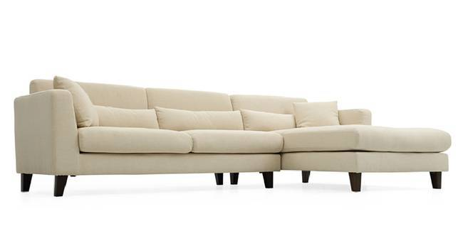 Lewis Sectional Sofa (Ivory White) (Cream, Fabric Sofa Material, Regular Sofa Size, Sectional Sofa Type)
