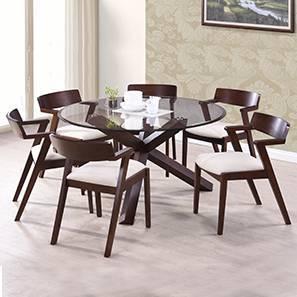 Matheson - Thomson 6 Seater Round Glass Top Dining Table Set (Dark Walnut Finish, Latte)