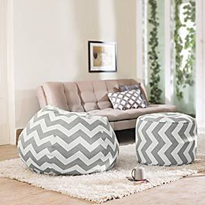 Baggo Canvas Beanbag Lounge Set (Standard Size, Without Beans Variant, Chevron Grey) by Urban Ladder