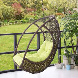 Calabah Swing Chair With Long Chain (Green, Brown Finish)