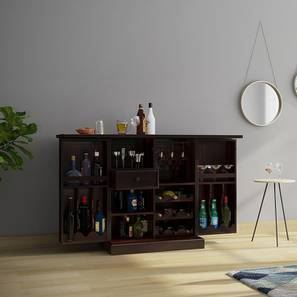 Attractive Caledonia Bar Cabinet (Mahogany Finish) By Urban Ladder