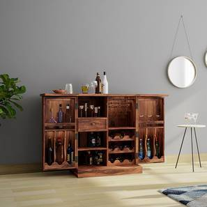 Caledonia Bar Cabinet (Teak Finish) By Urban Ladder