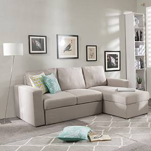 Kowloon Sectional Sofa Cum Bed with Storage (Pearl)