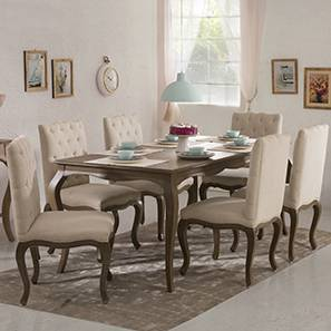 Lyon 6 Seater Dining Table Set (Sepia Oak Finish, Sepia Oak)