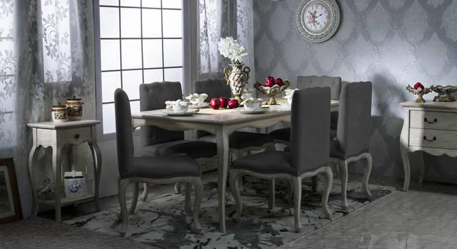 Lyon Dining Chair (Natural Finish, Stonewash Grey) by Urban Ladder