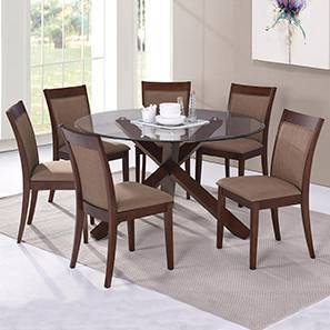 Matheson - Dalla 6 Seater Round Glass Top Dining Table Set (Cappuccino, Dark Walnut Finish)