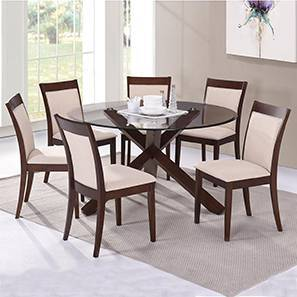 Matheson - Dalla 6 Seater Round Glass Top Dining Table Set (Dark Walnut Finish, Latte)