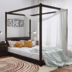 Striado Four Poster Bed (Mahogany Finish, Queen Bed Size)