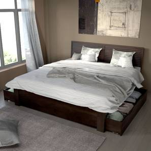 Terence Storage Bed (Mahogany Finish, King Bed Size)