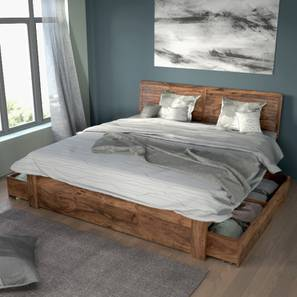 Terence Storage Bed (Teak Finish, King Bed Size)