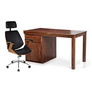 Bradbury - Ray Executive Study Set (Teak Finish, Black) by Urban Ladder
