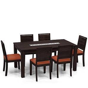 Brighton - Oribi 6 Seater Dining Table Set (Mahogany Finish, Burnt Orange)
