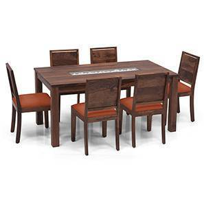Brighton - Oribi 6 Seater Dining Table Set (Teak Finish, Burnt Orange) by Urban Ladder