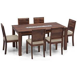 Brighton - Oribi 6 Seater Dining Table Set (Teak Finish, Wheat Brown)