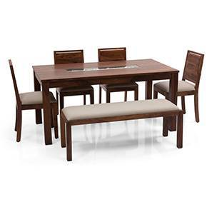 Brighton - Oribi 6 Seater Dining Table Set (With Upholstered Bench) (Teak Finish, Wheat Brown) by Urban Ladder