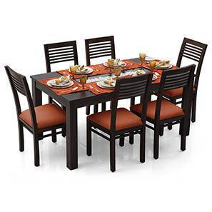 Brighton - Zella 6 Seater Dining Table Set (Mahogany Finish, Burnt Orange) by Urban Ladder